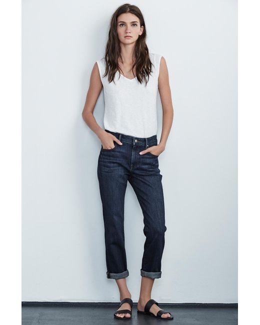 Velvet By Graham & Spencer - Blue Christy High Rise Boyfriend Jean - Lyst