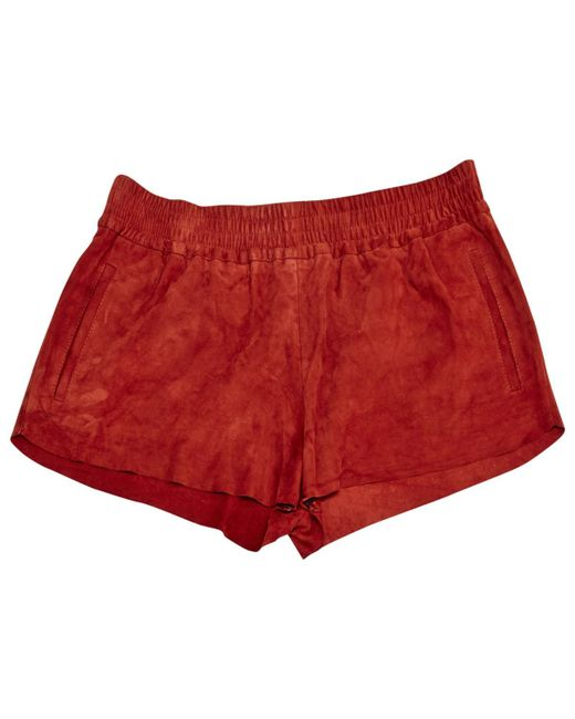 Maje - Red Suede Shorts - Lyst