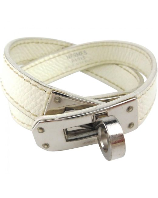 Hermès - Pre-owned Kelly Double Tour White Leather Bracelets - Lyst
