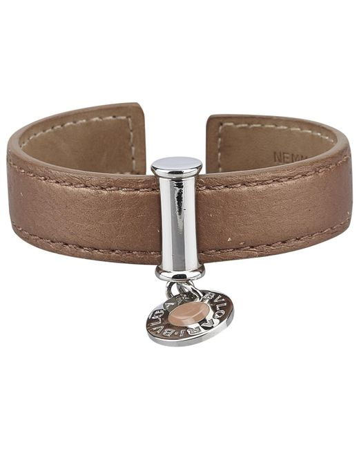 BVLGARI - Brown Leather Bracelet - Lyst