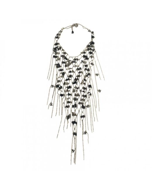 Chanel - Metallic Silver Metal Necklace - Lyst