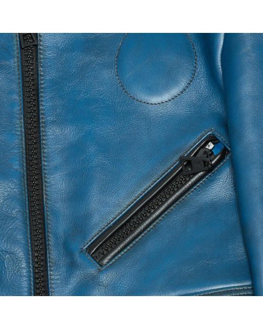 f0c2bddd190c Louis Vuitton Pre-owned Blue Leather Leather Jackets in Blue - Lyst