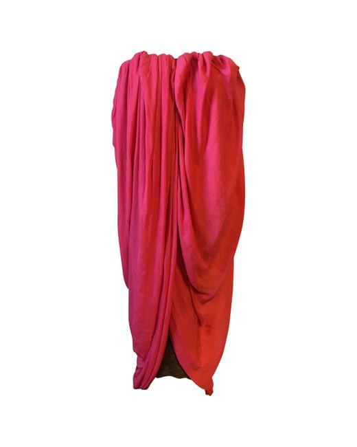 Lanvin - Pink Polyester Dress - Lyst