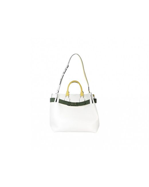 Burberry - White Leather Satchel - Lyst