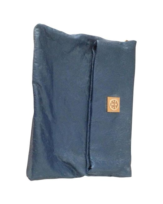 Tory Burch - Pre-owned Blue Leather Clutch Bag - Lyst
