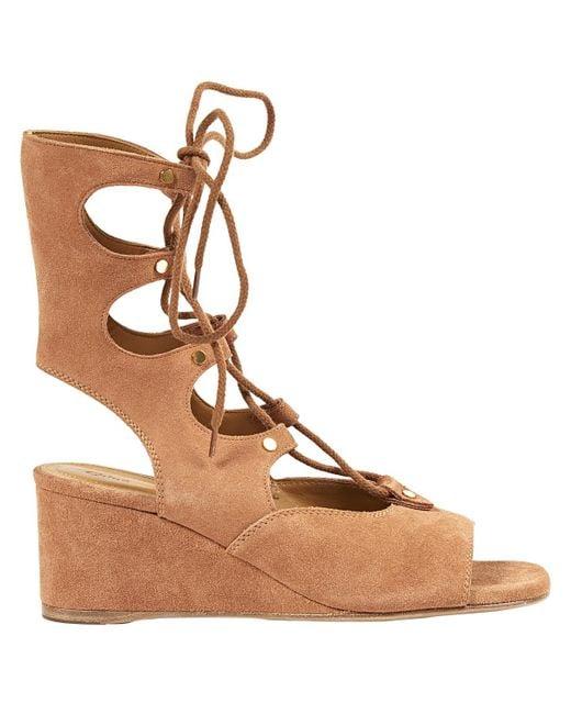 Chloé - Brown Camel Suede Sandals - Lyst
