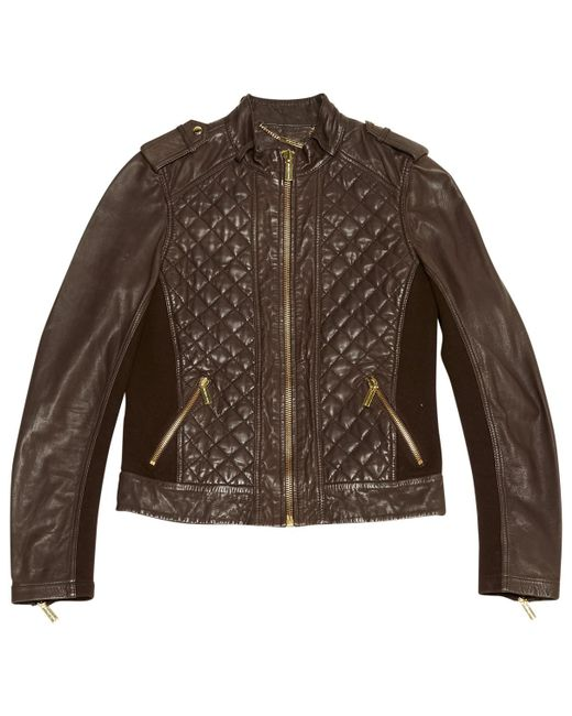 Michael Kors - Brown Leather Biker Jacket - Lyst