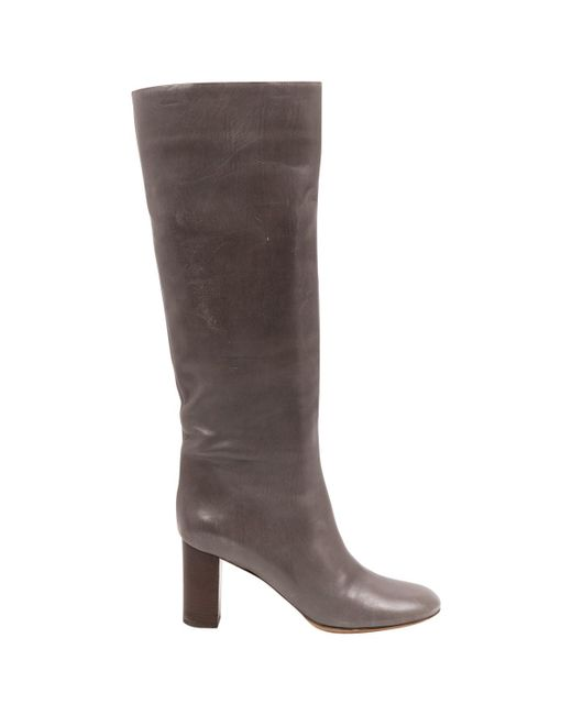 Chloé | Gray Pre-owned Leather Boots | Lyst