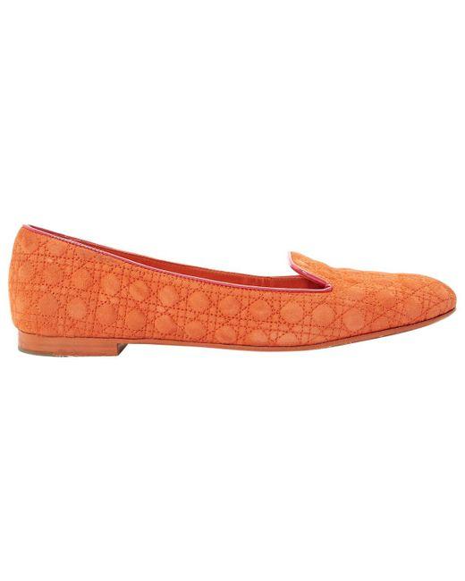 Dior - Orange Suede Flats - Lyst