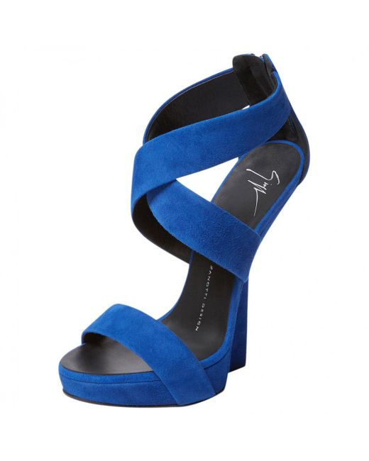 Giuseppe Zanotti - Blue Suede Sandals - Lyst