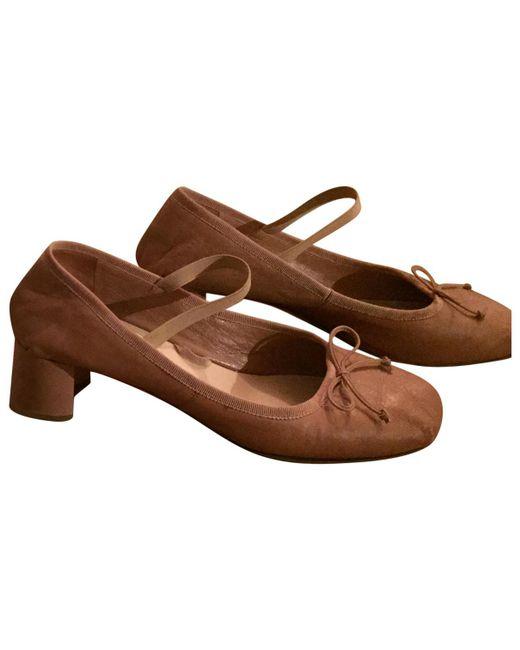 Miu Miu | Brown Leather Heels | Lyst