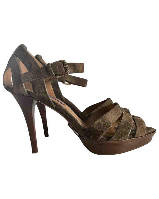 Ralph Lauren Collection - Brown Suede Heels - Lyst