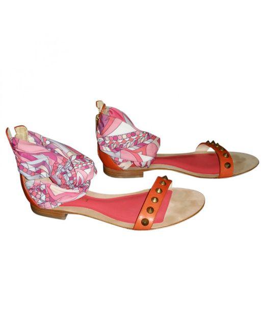 Emilio Pucci - Pre-owned Orange Leather Sandals - Lyst