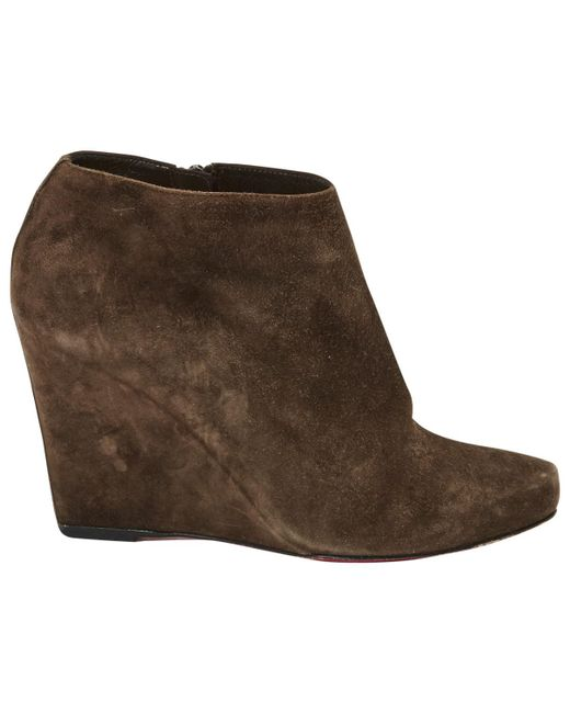 Christian Louboutin | Brown Pre-owned Ankle Boots | Lyst