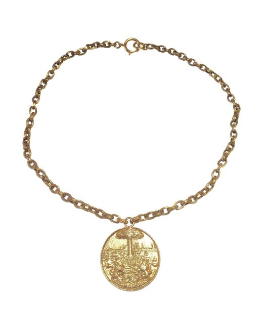 Chanel - Metallic Pre-owned Medallion Necklace - Lyst