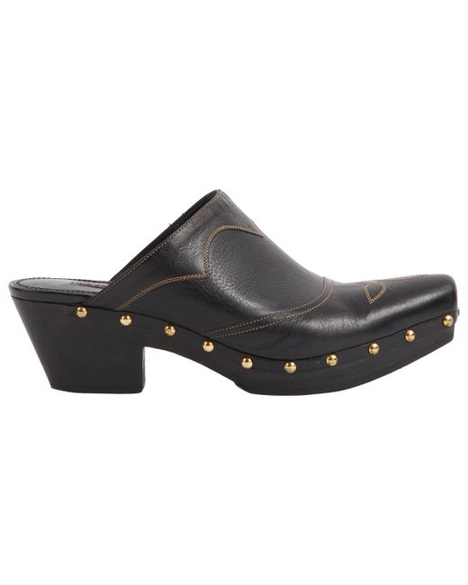 Ralph Lauren Collection - Black Leather Mules & Clogs - Lyst