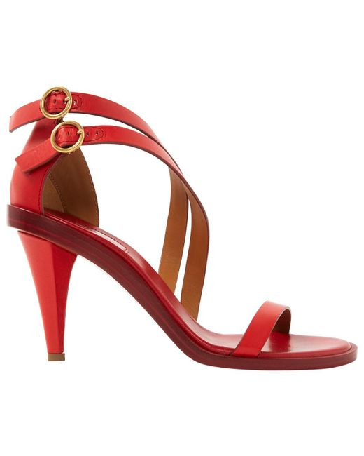Chloé - Red Pre-owned Leather Sandals - Lyst