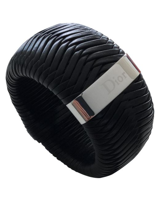 Dior | Black Pre-owned Leather Bracelet | Lyst