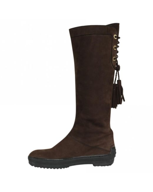 Tod's - Brown Suede Boots - Lyst