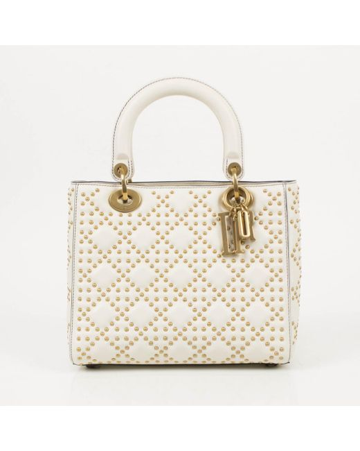 d290022a0c02 Dior Lady White Leather Handbag in White - Lyst