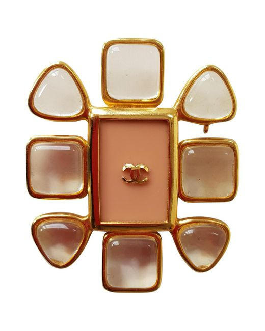 Chanel - Metallic Vintage Gold Steel Pins & Brooches - Lyst