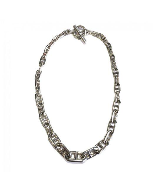 Hermès - Metallic Chaîne D'ancre Silver Necklace - Lyst