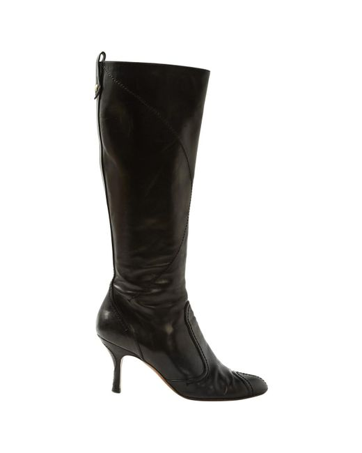 Louis Vuitton - Black Pre-owned Leather Boots - Lyst