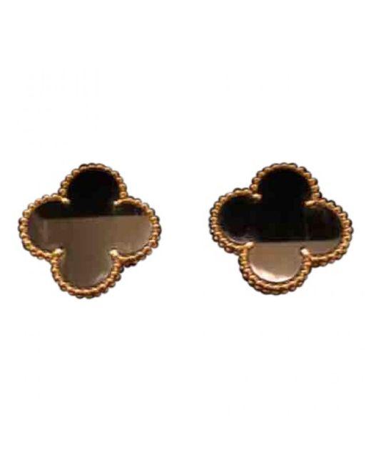 Van Cleef & Arpels - Black Magic Alhambra Yellow Gold Earrings - Lyst