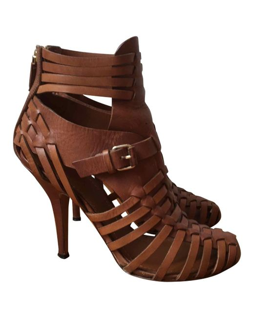 Givenchy - Brown Camel Leather Sandals - Lyst