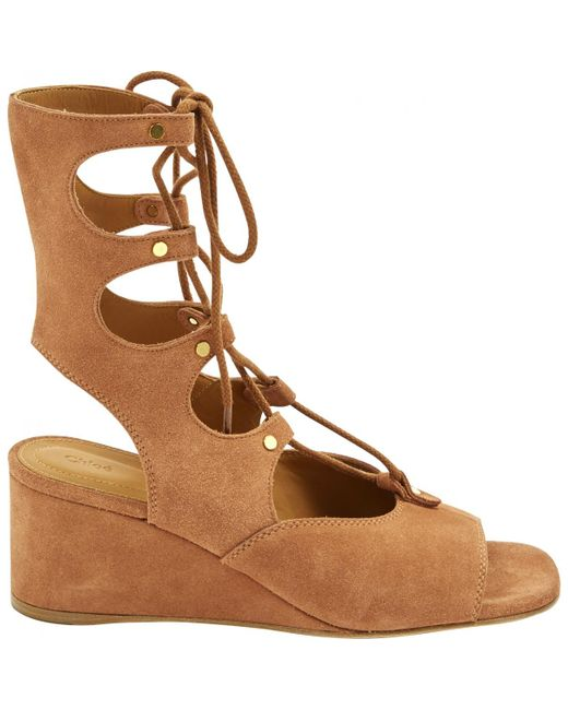 Chloé - Brown Camel Suede Sandals - Lyst