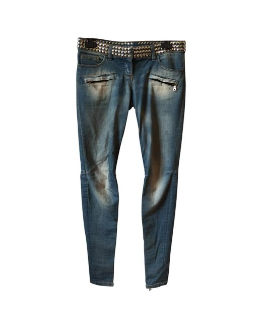 Balmain - Blue Pre-owned Studded Jeans - Lyst