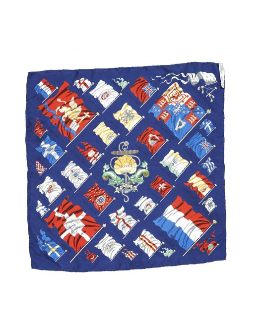 62c7c14809c Hermès Pre-owned Silk Scarf in Blue for Men - Save 26% - Lyst