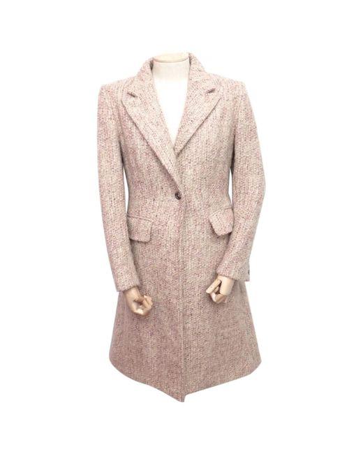 Burberry - Pink Wool Coat - Lyst