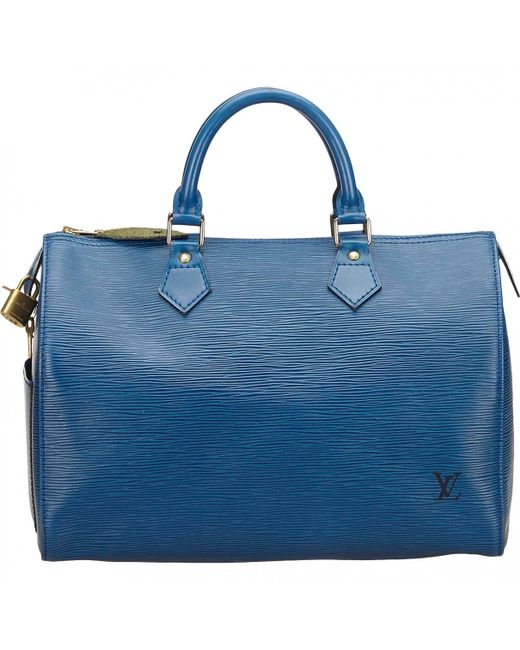Lyst - Louis Vuitton Vintage Speedy Blue Leather Handbag in Blue ... fb0833b82b