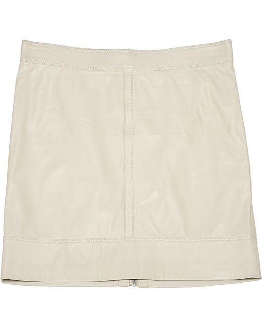 Belstaff - Natural Leather Mini Skirt - Lyst