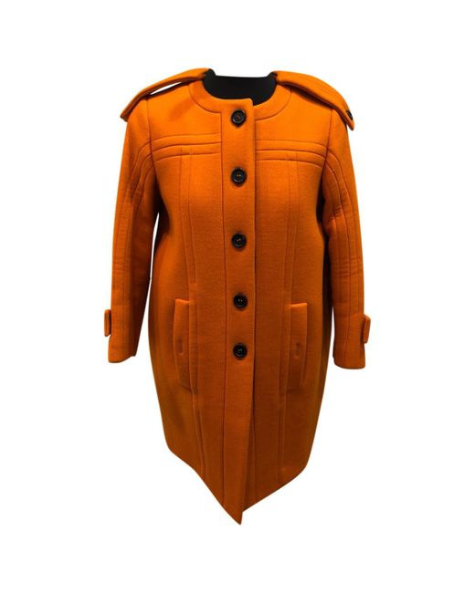 Burberry - Orange Wool Coat - Lyst