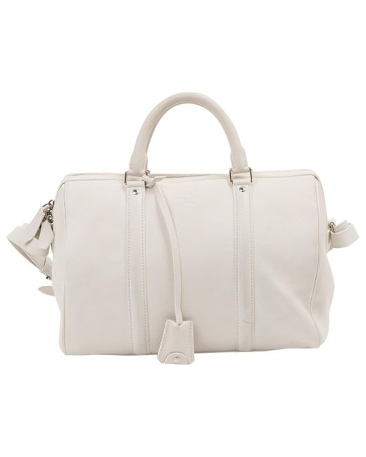Louis Vuitton - White Leather Bowling Bag - Lyst