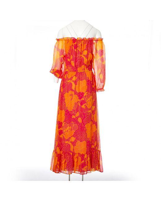 c59c6a5b16be ... Diane von Furstenberg - Orange Silk Maxi Dress - Lyst