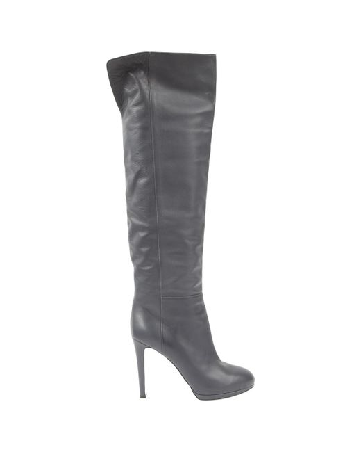 Sergio Rossi - Gray Leather Boots - Lyst