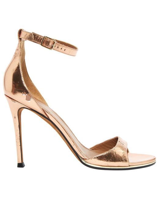 Givenchy - Metallic Patent Leather Sandals - Lyst