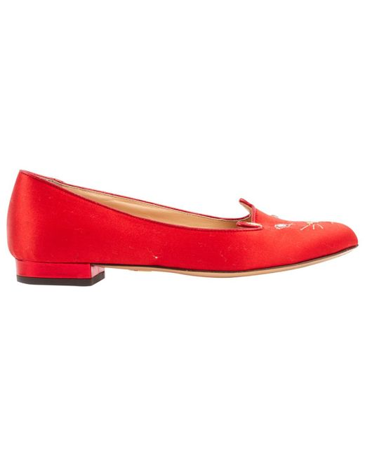 Charlotte Olympia - Red Pre-owned Cloth Flats - Lyst