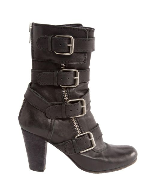 Chloé | Black Pre-owned Leather Boots | Lyst
