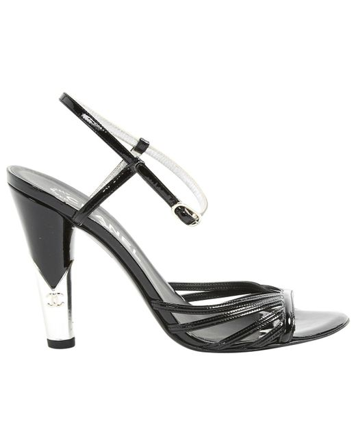 Chanel - Black Patent Leather Sandals - Lyst
