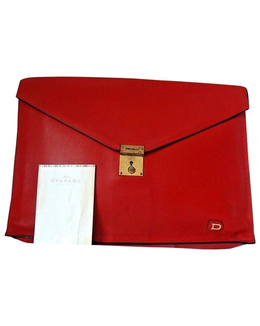 Delvaux - Red Leather Satchel - Lyst