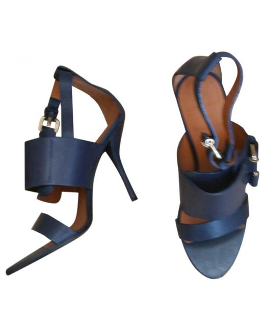 Givenchy - Blue Navy Leather Sandals - Lyst