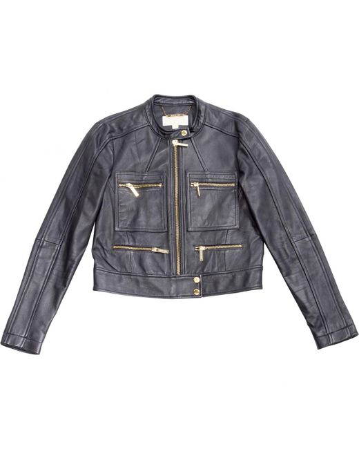 Michael Kors - Blue Pre-owned Navy Leather Jackets - Lyst