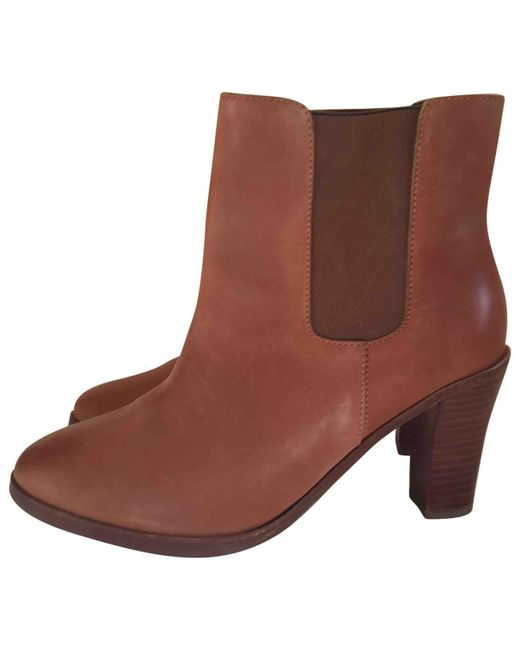 A.P.C. - Pre-owned Brown Leather Ankle Boots - Lyst