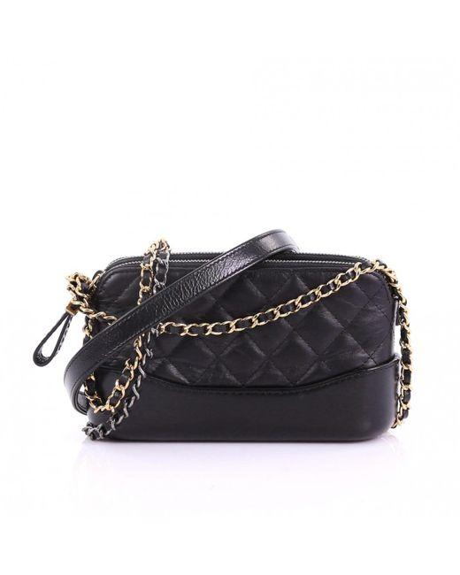 6bf53d4dbc17bb Chanel Gabrielle Black Leather Handbag in Black - Lyst