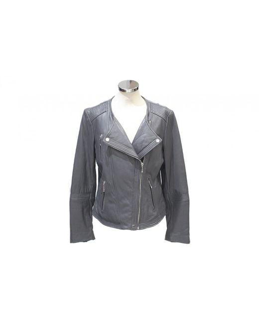 Michael Kors - Gray Leather Short Vest - Lyst