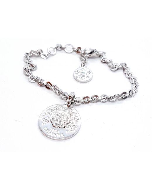 Chanel - Metallic White Gold Bracelet - Lyst